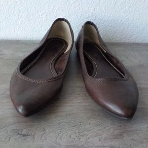 Frye Flats Brown 7 M Regina Ballet Leather Pointed